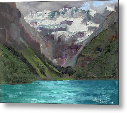 Landscape Metal Print featuring the painting Lake Louise Canada by Tommy Thompson