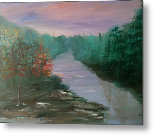 Landscape Metal Print featuring the painting River Dreamscape by Laura Inniger