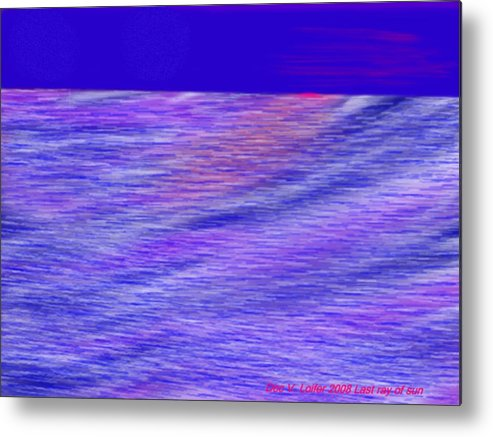 Sky.stars.sea.reflection.waves.evening.rest.silence. Metal Print featuring the digital art Last Ray Of Sun by Dr Loifer Vladimir