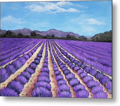 Interior Metal Print featuring the painting Lavender Field In Provence by Anastasiya Malakhova