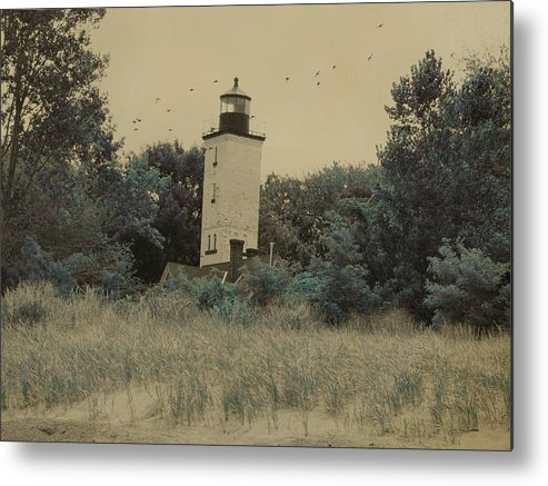 Lighthouse Metal Print featuring the photograph Erie Lighthouse Among The Trees by Gothicrow Images