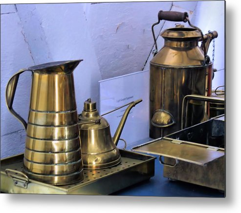Lightkeepers Equipment Metal Print featuring the photograph Lightkeepers Equipment by Janice Drew
