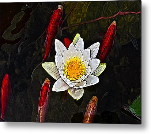 Metal Print featuring the digital art Lily Fish by Jen Brooks Art
