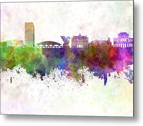 Ljubljana Skyline Metal Print featuring the painting Ljubljana Skyline In Watercolor Background by Pablo Romero