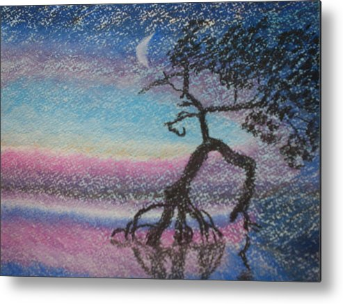 Landscape Metal Print featuring the pastel Lone Dancer By Moonlight by Warren Thompson