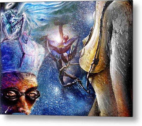Amor Metal Print featuring the painting Los Espectros Que Duermen by Ruben Santos