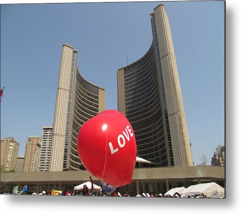 Love Metal Print featuring the photograph love in Toronto City Hall by Alfred Ng