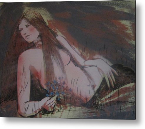 Love Metal Print featuring the painting Love Me Or Love Me Not by John Horn