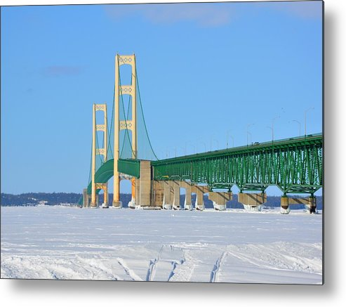 Michigan Metal Print featuring the photograph Mackinac Bridge On Ice by Keith Stokes