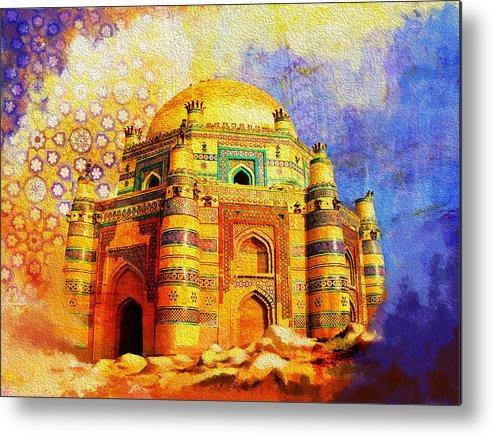 Pakistan Metal Print featuring the painting Mai Jwandi Tomb On Makli Hill by Catf