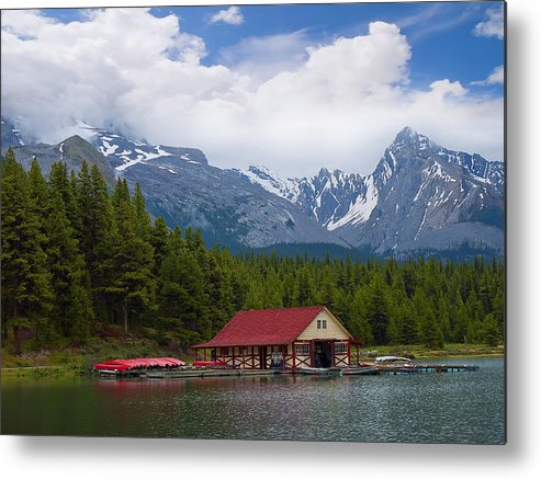Maligne Metal Print featuring the photograph Maligne Lake In The Canadian Rockies by Brenda Kean
