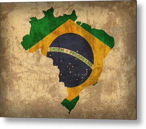 Map Of Brazil With Flag Art On Distressed Worn Canvas Metal Print featuring the mixed media Map Of Brazil With Flag Art On Distressed Worn Canvas by Design Turnpike