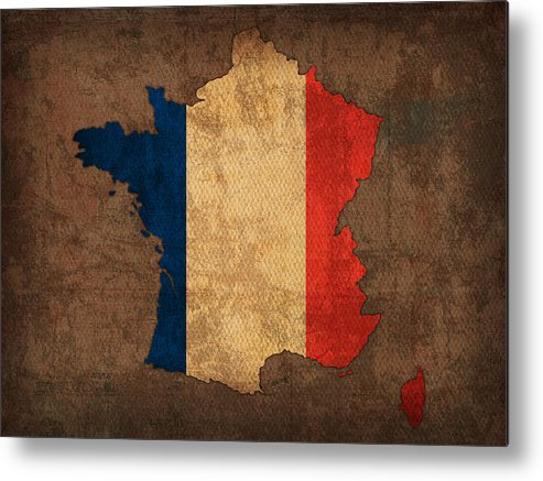 Map Of France With Flag Art On Distressed Worn Canvas Metal Print featuring the mixed media Map Of France With Flag Art On Distressed Worn Canvas by Design Turnpike