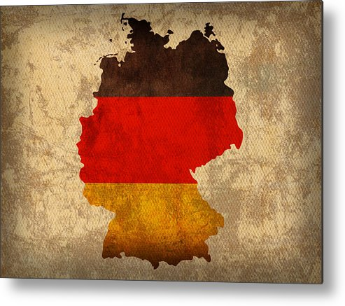 Map Of Germany With Flag Art On Distressed Worn Canvas Metal Print featuring the mixed media Map Of Germany With Flag Art On Distressed Worn Canvas by Design Turnpike