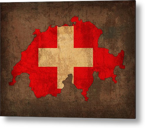Map Of Switzerland With Flag Art On Distressed Worn Canvas Metal Print featuring the mixed media Map Of Switzerland With Flag Art On Distressed Worn Canvas by Design Turnpike