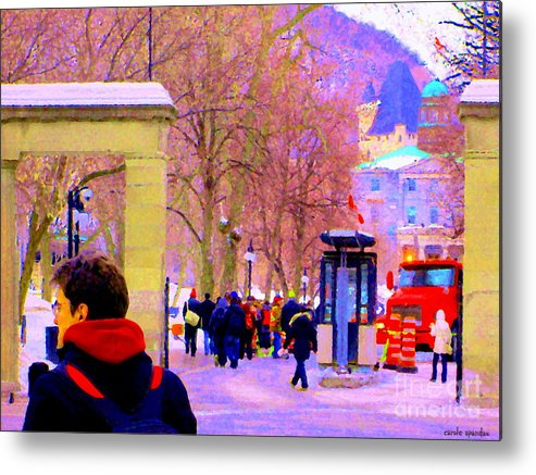 Mcgill University Metal Print featuring the painting Mcgill Campus Eager Students Enter Roddick Gates Montreal Collectible Art Prints Carole Spandau by Carole Spandau