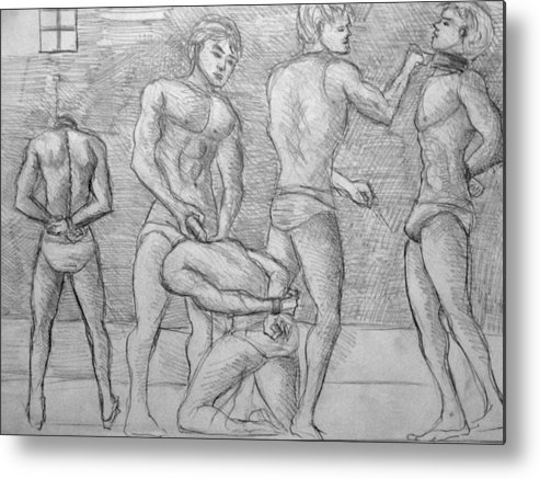 Male Nudes Metal Print featuring the drawing Men In Jail by Bruno Espartero
