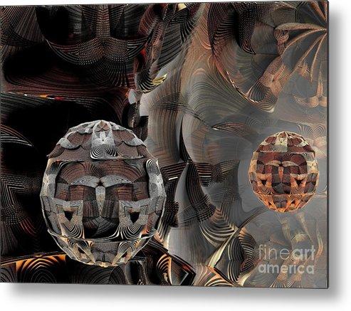 Fractal Art Metal Print featuring the digital art Metal Spheres by Bernard MICHEL