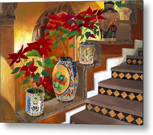 Mexican Pottery Metal Print featuring the painting Mexican Pottery On Staircase by Judy Swerlick