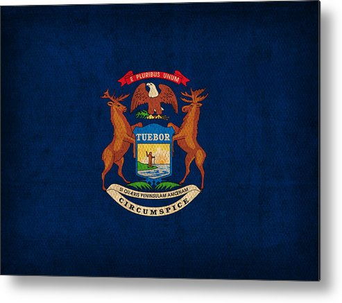 Michigan State Flag Art On Worn Canvas Metal Print featuring the mixed media Michigan State Flag Art On Worn Canvas by Design Turnpike