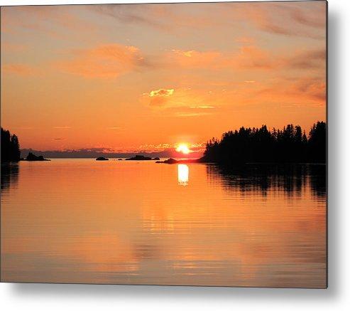 Sunset Midnight Sun Alaska Metal Print featuring the photograph Midnight Sun by Rick and Dorla Harness