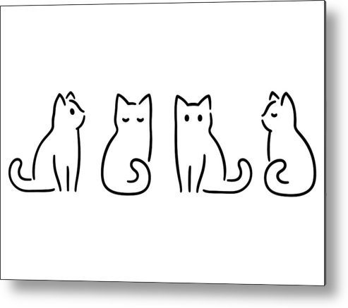 Pets Metal Print featuring the drawing Minimal Cat Drawing by Sudowoodo