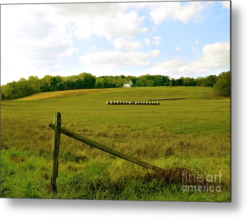Misty Hills Farm Metal Print featuring the photograph Misty Hills Farm by Addie Hocynec