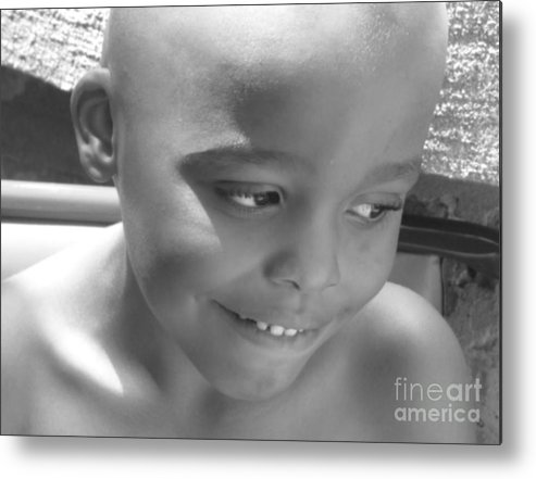Portrait Metal Print featuring the photograph Moment Of Innocence 2 by Cedric Hampton
