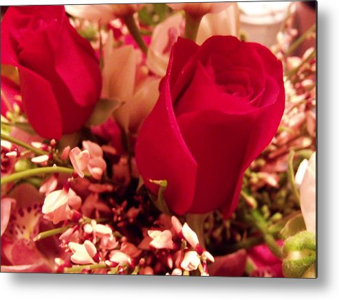 Roses Metal Print featuring the photograph Moms Red Roses by Dave Dresser