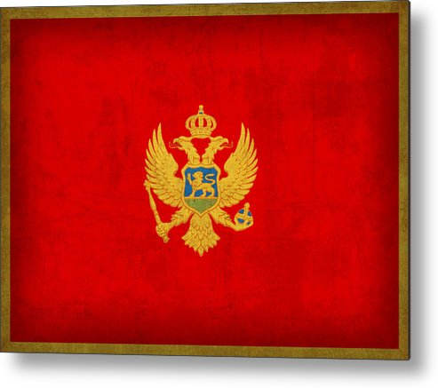 Montenegro Metal Print featuring the mixed media Montenegro Flag Vintage Distressed Finish by Design Turnpike