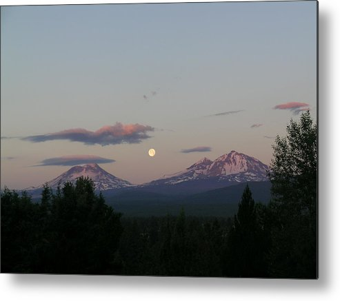 Moon Metal Print featuring the painting Moon Over The Cascades by Jennifer Lake