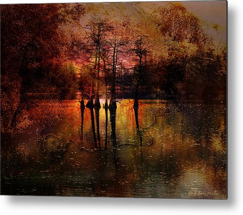 J Larry Walker Metal Print featuring the digital art Moon Setting Over Reelfoot Lake by J Larry Walker