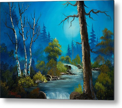 Landscape Metal Print featuring the painting Moonlight Stream by Chris Steele