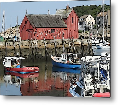 Motif Metal Print featuring the photograph Motif Boats by Phil Campanella