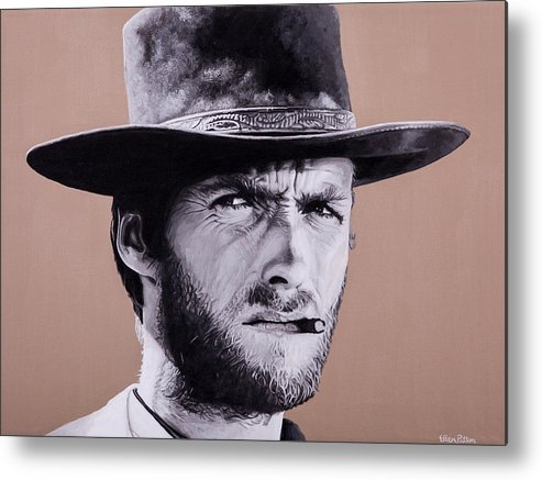 Metal Print featuring the painting Mr. Eastwood by Ellen Patton