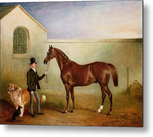 Horse; Pet; Groom Metal Print featuring the painting Mr Meakin Holding Sir Robert Peels Chestnut Hunter With His Dogs Hector And Jem by John E Ferneley