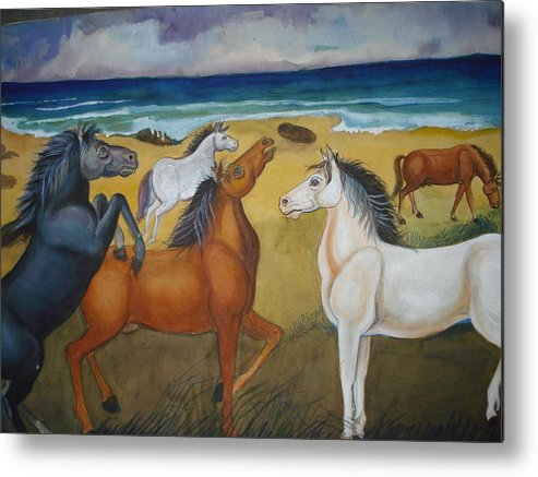 Mustang Metal Print featuring the painting Mustang Mates by Prasenjit Dhar