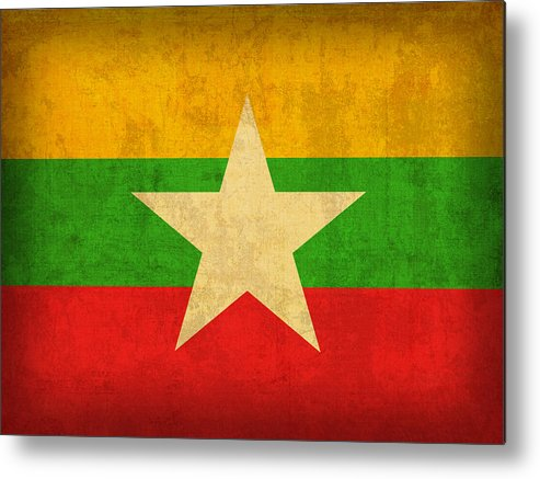Myanmar Metal Print featuring the mixed media Myanmar Burma Flag Vintage Distressed Finish by Design Turnpike