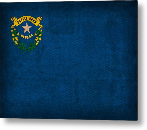 Nevada State Flag Art On Worn Canvas Metal Print featuring the mixed media Nevada State Flag Art On Worn Canvas by Design Turnpike
