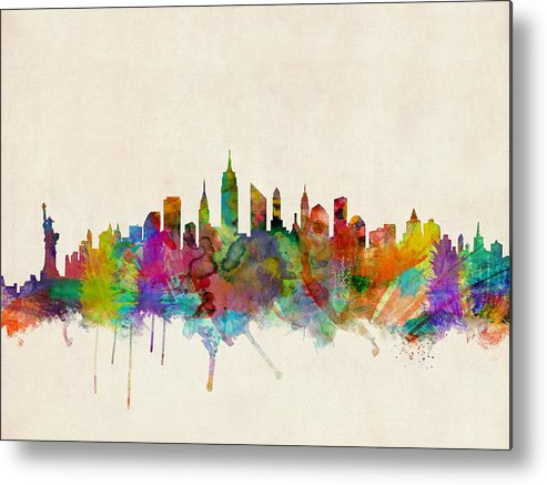 New York Metal Print featuring the digital art New York City Skyline by Michael Tompsett