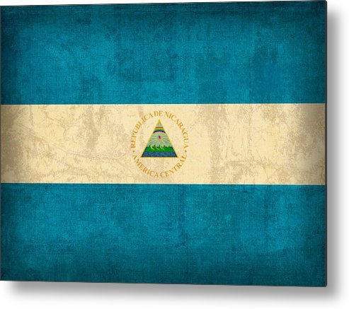 Nicaragua Metal Print featuring the mixed media Nicaragua Flag Vintage Distressed Finish by Design Turnpike