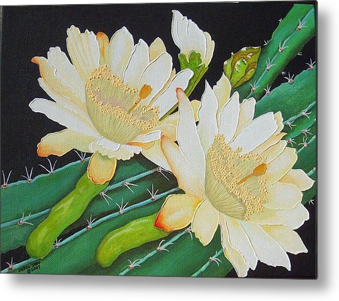 Acrylic Metal Print featuring the painting Night Blooming Cacti by Carol Sabo