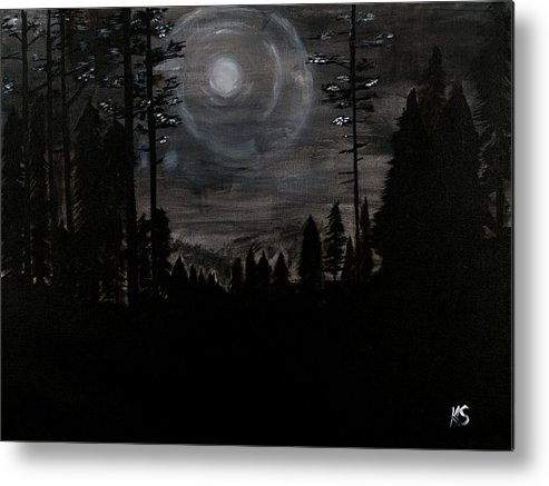 Landscape Metal Print featuring the painting Night by Katy Scott