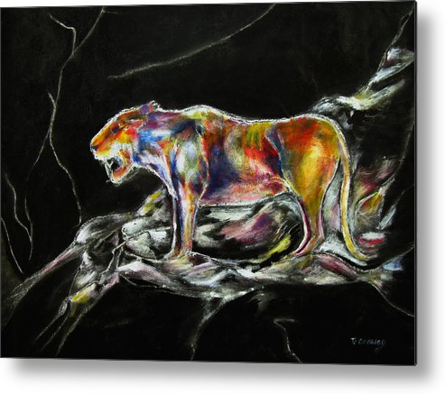 Animals Metal Print featuring the painting No Fear by Tom Conway