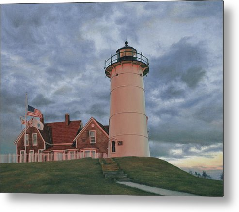 Cape Cod Metal Print featuring the painting Nobska At Sunset by Julia O'Malley-Keyes
