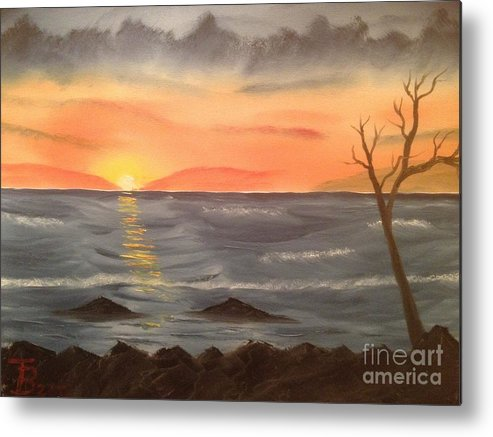 Original Metal Print featuring the painting Ocean At Sunset by Tim Blankenship