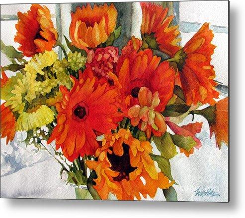 Flower Metal Print featuring the painting Orange Gerberas by Wendy Westlake