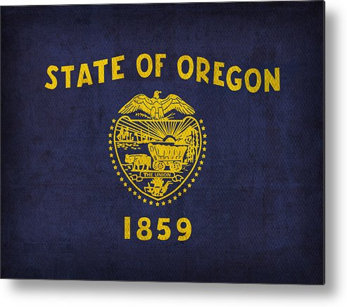 Oregon State Flag Art On Worn Canvas Metal Print featuring the mixed media Oregon State Flag Art On Worn Canvas by Design Turnpike