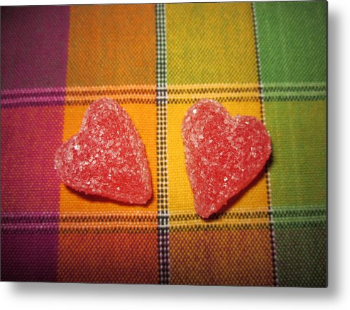 St. Valentine's Day Metal Print featuring the photograph Our Hearts On The Table by Rosita Larsson