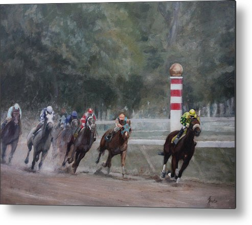 Horse Metal Print featuring the painting Out In Front by Heather Burton
